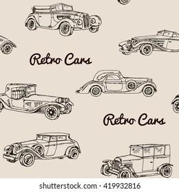 Vector set of retro cars.Vintage autos illustration. Hand drawn pattern
