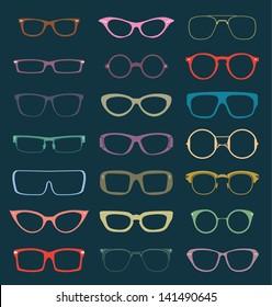 Vector Set: Retro Color Glasses Silhouettes