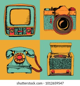 Vector set of retro devices. Sketch style vintage colors. Camera, phone, tv, radio, turntable.