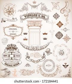 Vector. Set of retro elements: baroque frames, banners, retro labels, classic column.