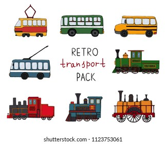 Vector set of retro engines and public transport. Vector illustration of vintage trains, bus, tram, trolleybus isolated on white background. Cartoon style illustration of old means of transport