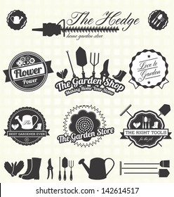 Vector Set: Retro Gardening Labels and Icons