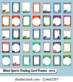 Vector Set: Retro Mixed Sport Trading Card Frames