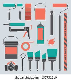 Vector Set: Retro Painting Supply Silhouettes and Icons