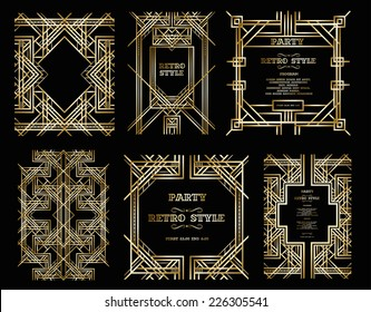vector set retro pattern for vintage party Gatsby style
