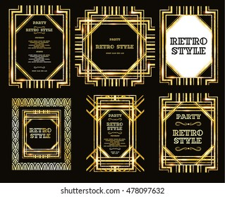vector set retro pattern for vintage party style Gatsby