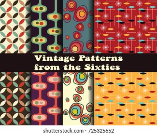 Vector Set of Retro Patterns from the Sixties