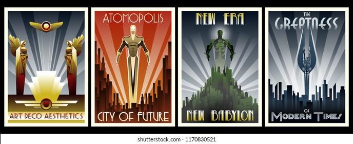 Vector Set of Retro Posters Art Deco Style