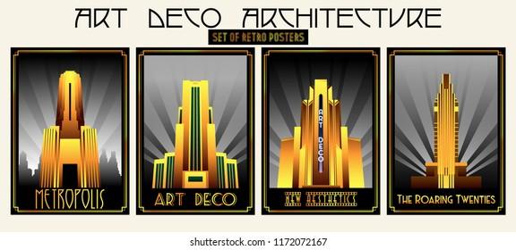 Vector Set of Retro Posters Art Deco Architecture Style