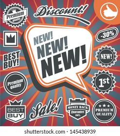Vector set of retro promotional labels. Signs, stickers, badges and banners collection on vintage background.