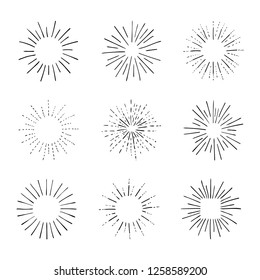 Vector Set of Retro Rays,Shining Isolated on White Black Outline Drawings, Vintage Sketch Design Elements Collection.
