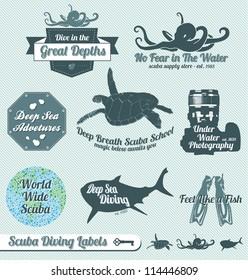 Vector Set: Retro Scuba Diving Labels