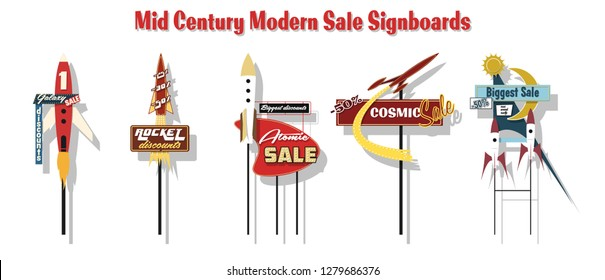 Vector Set of Retro Signboards Space Rockets Design