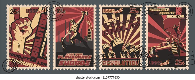 Vector Set of Retro Soviet Revolution Propaganda Postage Stamps