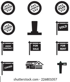 Vector Set of Retro Stamps, sale, under contract, rent and house signs, post and tags