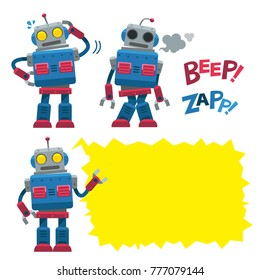 Vector set of retro style robot character in different actions with empty space for your message.
