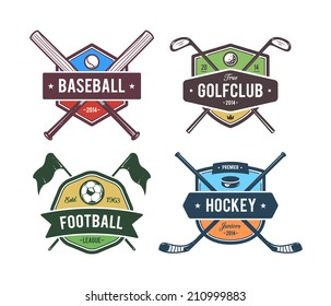 Vector set of retro styled sport emblems. Team sport badges and design elements. Colored version.