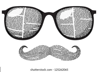 Vector set of retro sunglasses and mustaches silhouette with newspaper columns texture. All texts are unreadable.