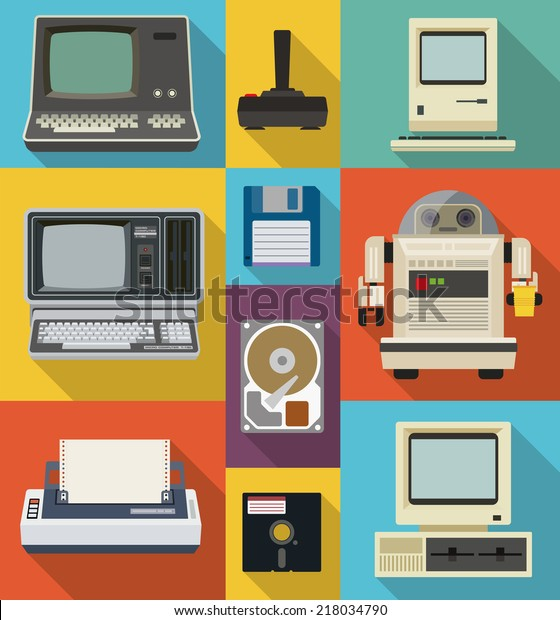 Vector set of retro and vintage items