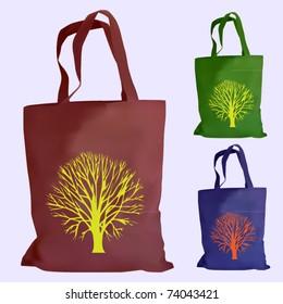 vector set of reusable shopping bags