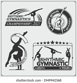 Vector set of rhythmic gymnastics silhouettes. Female silhouettes of gymnasts. Sport icons, sport logos.
