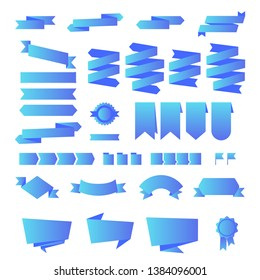 Vector set of ribbons modern flat fluid blue gradient for web and mobile