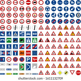 Vector set for road signs
