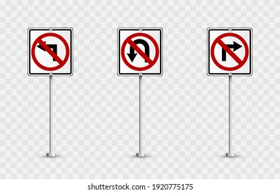 Vector set of road signs. Road signs on an isolated background. Prohibitory signs png.