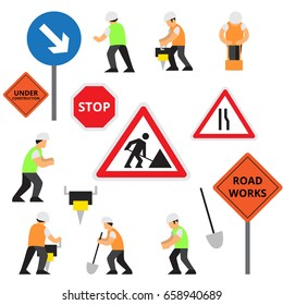 Vector set of road work elements or icons on isolated white background with work people