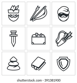 Vector Set of Robin Hood Icons. Archer, Bow and Arrow, Poor Man, Sword, Treasure, Quiver, Forest, Book, Shield. The characters of the story of the noble forest robber
