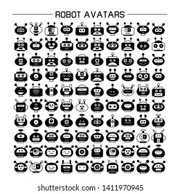 vector set of robot avatar icons