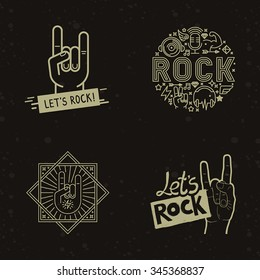 Vector set of rock and roll badges and concepts on dark background - linear icons, illustration and concepts - rock music