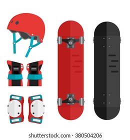 Vector set of roller skating and skateboarding protective gear. Skating protective gear icons. Flat skateboard illustration. Wrist guards, helmet, knee pads, elbow pads. Skateboard and protective.