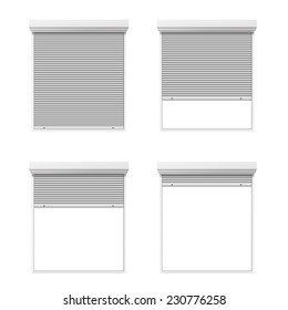 Vector set of rolling shutters in different conditions isolated on white background