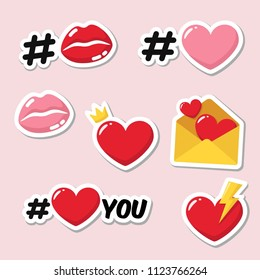 Vector set of romantic love stickers icons. Red and pink heart, hashtag heart, heart with crown, lips in kiss, heart with lightning, envelope with hearts.
