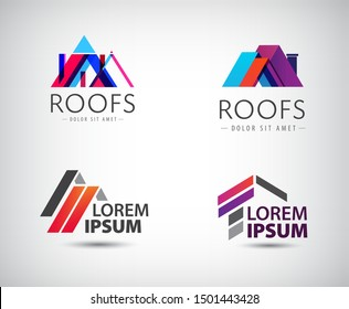 Vector set of roof logos, house building, real estate colorful icons