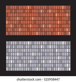 Vector set of roof tiles. Brown and gray roof repair texture.