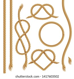 Vector set of ropes, realistic illustration. Nautical rope, cord, string, knots and loops decorative elements for borders and frames. Isolated on white.