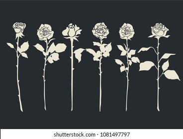Vector Set of Roses Silhouettes