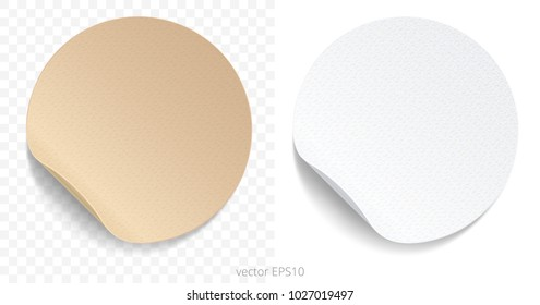 Vector set of round adhesive stickers with a folded edges. Tan cardboard and white paper circles. Blank templates of a price tags. Empty mockup for any memos. Realistic textures. Transparent shadows.