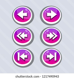 Vector set of round arrow buttons in pink gradient with shadows. Menu elements for web or game design. GUI design for social game.
