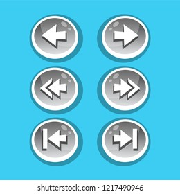 Vector set of round arrow buttons in silver gradient with shadows. Menu elements for web or game design. GUI design for social game.