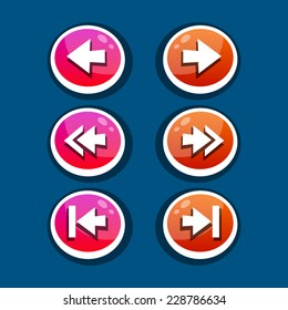 Vector set of round arrow buttons in pink and orange with shadows. Menu elements for web or game design. GUI design for social game.