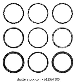 Vector set of round black monochrome rope frame. Collection of thick and thin circles isolated on the white background consisting of braided cord. For decoration and design in marine style.