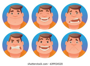 Vector set of round blue frames with cartoon images of fat men with brown hair expressing various facial emotions: joy, happiness, bewilderment, anger, delight and sadness on a white background.