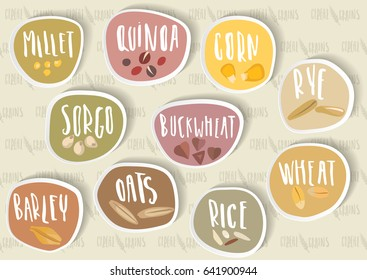 Vector set of round cereal emblems, stickers with handwritten lettering and hand-drawn stylized grains. For packing groats, advertising healthy food. Seamless pattern for reverse side on background.