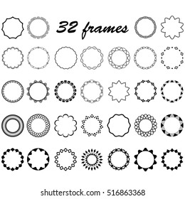 vector set of round and circular empty frames for decoration of text, design borders