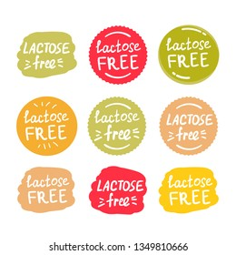 Vector set of round colorfull eco labels with text - lactose free.