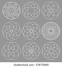 Vector set of round elements cut out paper for arabic design. Decorative ornate geometric elements for laser cutting.