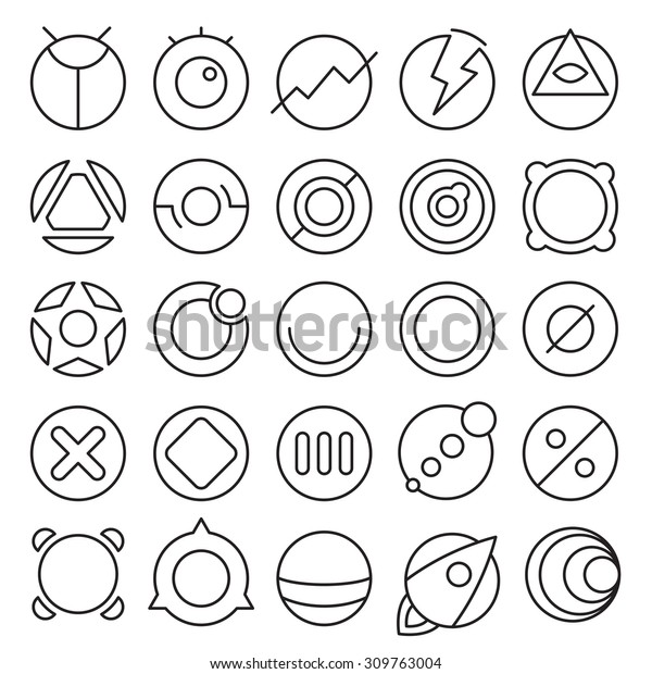 Vector set of round experimental icons with different shape and extreme usability. Great for UI/UX wireframe experiments.